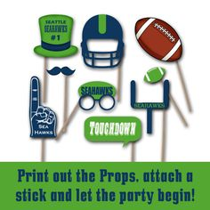 Seattle Seahawks Photo Booth Props Printable