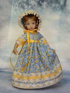 "SOLD ""Fields of Sunshine"" Regency Dress, Outfit, Gown for 13"" Effner Little Darling"
