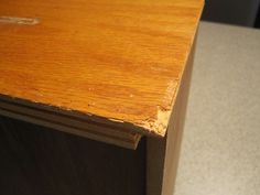 Fixing Furniture  - wood filer for holes and minor blemishes such as scratches and chirps. + sanding and painting  - For bigger chunks missing, cover it with paint sticks    - Cover chipped ends with one inch batten board molding   -
