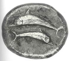 Statere - argento - Santorini BC) - due delfini nuotano in direzioni opposte Santorini, Mykonos Greece, Crete Greece, Athens Greece, Ancient Roman Coins, Coin Art, Greek History, Gold And Silver Coins, Antique Coins