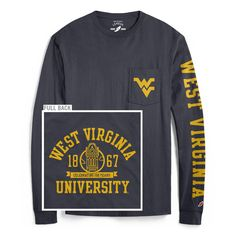Continuing the year-long celebration of West Virginia University's 150th birthday, we're moving in to cooler weather with our 'oh so soft'; long sleeve pocket tee!