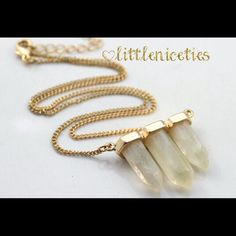 3 stone Quartz necklace 3 stone Quartz necklace pendant. Costume jewelry piece. Little Niceties Jewelry Necklaces