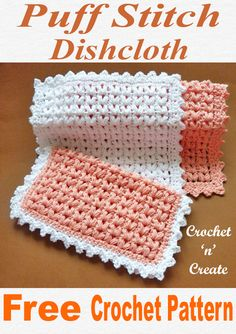 Puff stitch dishcloth, free crochet pattern, would also make a great washcloth for the bathroom. Picot Crochet, Crochet Scrubbies, Crochet Towel, Free Crochet, Dishcloth Crochet, Crochet Kitchen, Crochet Gifts, Crochet Accessories, Crochet Projects