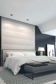 Love the luxurious dark wall colour which is so on trend at the moment, and the black and white mat is a touch of fun #homedecorideas #luxurybedroom #interiordesign