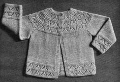 Puss Baby Cardigan from Patons Nr R21: Long sleeved baby cardigan with lace yoke and borders ~~ Free pattern courtesy of Sarah Bradberry