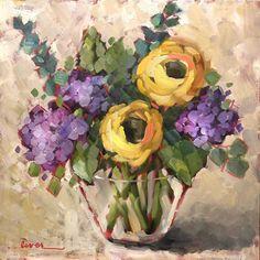 Mountain Hydrangeas by MARTHA LEVER Oil ~ 18 x 18