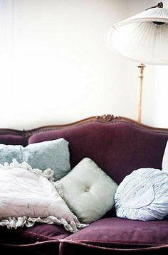 Vintage sofa in purple