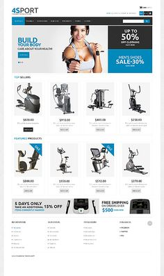 PrestaShop #template // Regular price: $140 // Unique price: $4200 // Sources available: .PSD, .PHP, .TPL #Sport #PrestaShop #Workout #Store