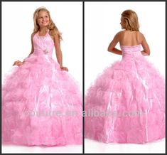 2013 No Risk Shopping ball gown halter beaded pink organza floor length dresses for girls of 10 years old fd027 $60~$110