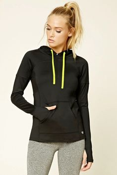 """e6b9dbb76ff A lightweight knit hoodie with a """"Get Moving"""" graphic drawstring"""