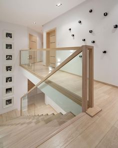 Modern Stairs // minimal wood stairs at the House Interior by Widawscy Studio Architektury Stair Railing Design, Home Stairs Design, Interior Stairs, Home Interior Design, Railings, Railing Ideas, Banisters, Stair Bannister Ideas, Glass Stair Railing