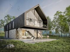 8 Amazing Floor to Ceiling Windows Ideas In Modern Barn House Design, Modern Barn House, Roof Design, Modern House Design, Style At Home, Casa Magnolia, Architecture Design, A Frame House, House Extensions