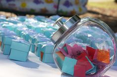 """""""Lucky Boxes""""  The kids would pick a number from the jar...  find the matching number on the box...  and open it to reveal the prize!  How fun and """"matching"""" is perfect for this age group!"""