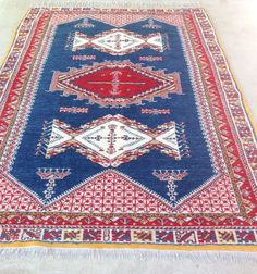 Vintage 1970s Moroccan Hand Tied Tribal Rug Red Blue Goldenrod Clean Soft | eBay