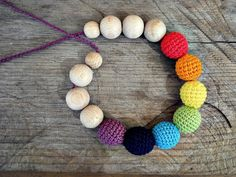 Items similar to Rainbow Teething Necklace wood crochet Nursing Breastfeeding Wood Bead Bubuline Mom Necklace Baby shower Gift for new mom Waldorf Baby on Etsy Nursing Necklace, Teething Necklace, Rainbow Crochet, Beaded Necklace, Deco, Trending Outfits, Unique Jewelry, Awesome, Handmade Gifts