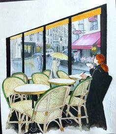Cafe window painting. Artist~ Vivian Swift