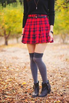 Mod Fox: belted plaid skirt + over the knee socks + black booties