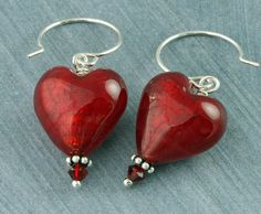 Red Heart Earrings, Valentines Earrings, Red Heart Valentine Earrings Murano Glass Red Heart Earrings Swarovski Crystal Silver Mothers Day. $29.00, via Etsy.
