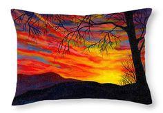 "Red Sunset Throw Pillow 20"" x 14"""