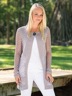 This cardigan pattern epitomizes modern grace whether it is dressed up or dressed casually. Made using a light-weight yarn, pattern is written for sizes S(M, L,