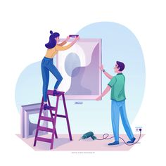 Working together by Jasmijn Solange Evans for Hyper Lab on Dribbble Working Together, Show And Tell, Evans, Lab, Illustrations, Inspiration, Biblical Inspiration, Illustration, Labradors