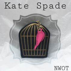 """Adorable Kate Spade Bird Cage Coin Purse Kate Spade novelty coin purse in black and gold with a pink bird as a zipper pull. Coin purse front looks like a bird cage, back is in black with """"Kate Spade"""" gold lettering. Gold hardware and black zipper. Measurements are approximately 3x2x.4 inches. Never used, new without tag, BUT there is a very minor flaw shown in photo 4. Only can be seen in certain angles. I think the style is called Hello Shanghai. Black interior, always had the tissue in it…"""