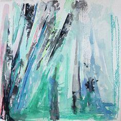 winter, watercolor landscape painting, 8x8