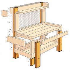to Build a Potting Bench Illustration: Gregory Nemec Potting Bench Plans, Potting Tables, Potting Sheds, Garden Sink, Garden Table, Garden Benches, Plant Table, Garden Planters, Outdoor Sinks