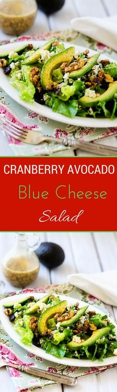 Cranberry Avocado Blue Cheese Salad via @wendypolisi
