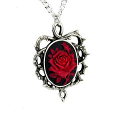 Gothic Thorn Red Rose Vine Cameo Necklace Jewelry Victorian Anime... ($15) ❤ liked on Polyvore featuring jewelry, necklaces, black chain necklace, animal necklace, black rose necklace, long necklace and black necklace