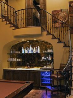 Staircase Bar Design Ideas, Pictures, Remodel, and Decor Design Studio, Küchen Design, House Design, Interior Design, Design Ideas, Design Inspiration, Style At Home, Bar Under Stairs, Open Stairs