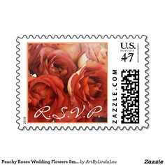 Peachy Roses Wedding Flowers Small Square Postage