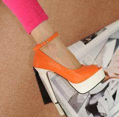 Cool Belt Fastener Embellished High-heeled Shoe Orange