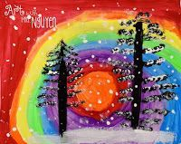 Winter Pine Tree Paintings - Art with Mrs. Elementary Art Rooms, Art Lessons Elementary, Pine Tree Painting, Tree Paintings, Painting For Kids, Art For Kids, Kindergarten Art Lessons, Sunflower Drawing, 2nd Grade Art