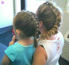 French Braid Friday! A French Braid w pearls for my little and a Dutch braid Mowhawk Faux Hawk for me!
