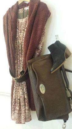 Sandwich dress - £119.00 Sandwich scarf - £39.00 Robako Ceintures belt - £58.00 Tutti necklace - £26.00 Amy B bag - £165.00 Cara boot - £99.00