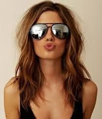 mid length brown hair with highlights