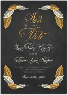 Exquisite Leaves - Signature White Save the Date Cards - Elk Design - Flint - Gray : Front