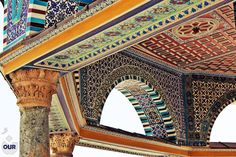 DETAILS from around AL-Aqsa mosque in Palestine by Nour ilayan. Great Islamic architecture of the buildings inside the mosque - including the Dome of the Rock which was constructed by the ORDER of Umayyad Caliph Abd al-Malik.