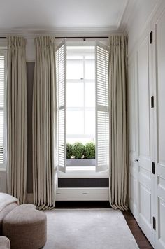 lovely neutral tone on tone bedroom with built-in closet, shutters, neutral drap… – Modern Shutters With Curtains, Interior Window Shutters, Interior Windows, Bedroom Windows, Linen Curtains, Curtains And Blinds Together, Bedroom Shutters, White Shutters, Wood Shutters