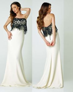 Nicole Bakti Tube White/Black Lace Gown