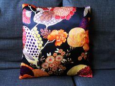 Japanese floral print cushion