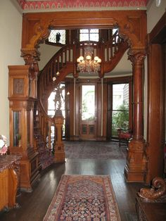 Ellwood House Mansion – Picture of Ellwood House Museum, DeKalb, Illinois – staircase Victorian House Interiors, Victorian Furniture, Victorian Decor, Old Victorian Homes, Victorian Gothic, Antique Furniture, Victorian Architecture, Interior Architecture, Interior Design