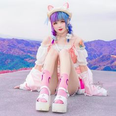 🐈 meow in your language? 👧🏻Mine is miao~ Pastel Goth Outfits, Pastel Goth Fashion, Kawaii Fashion, Punk Fashion, Colorful Fashion, Girl Fashion, Fashion Outfits, Cosplay Anime, Cosplay Girls