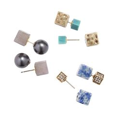 Set of three pairs of front-and-back earrings. Hammered metal with green acrylic; blue and white semiprecious stone with metal/pavé glass stones; faux pearl with gray semiprecious stones. Regularly $26.00, buy Avon Jewelry online at http://eseagren.avonrepresentative.com