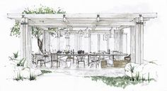 sketch outdoor interior drawing dining schematiclife ch sketching