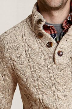Mens Button-neck Cable Sweater