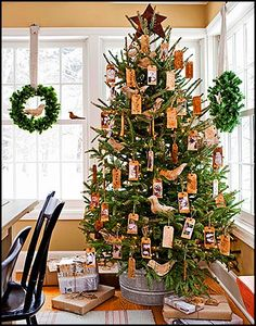 christmas handmade tags tree in galvanized bucket...rustic christmas