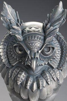 Bioworkz owl - sculpture par Samuel Boulesteix - www.boulesteix-sculpteur.com