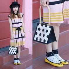 Target Pleated Shift Dress In Blush Stripes, Runaround Sue Vintage Vintage Polka Dot Bag, London Sole Henrietta Flats In Yellow Patent Croc